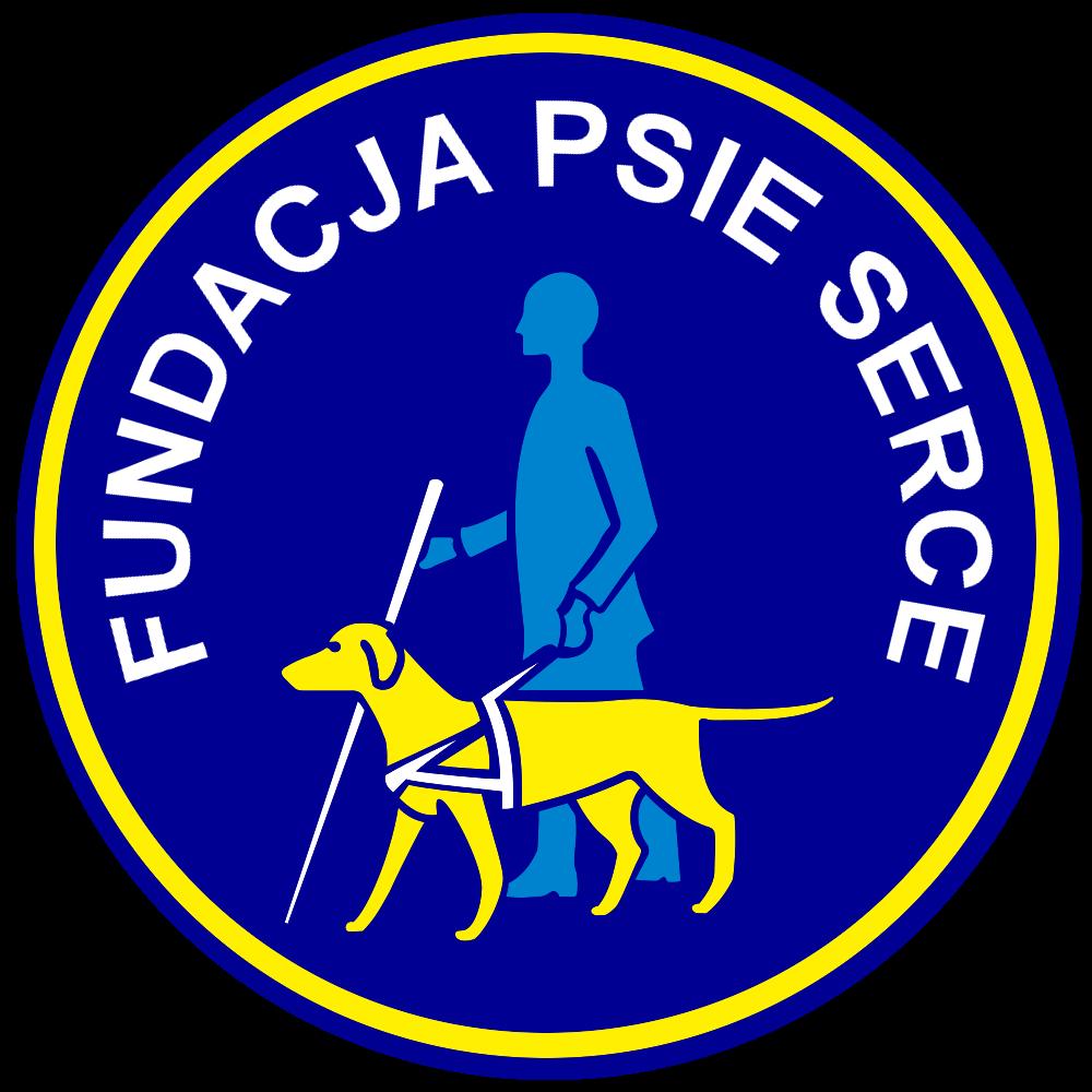 Osoba niewidoma z białą laską i prowadzącym ją psem przewodnikiem w kole do okoła którego widnieje napis Fundacja Psie Serce